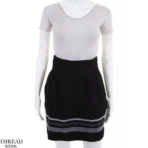 THREAD SOCIAL Blk/Gray Stripe Pleated A-Line Skirt